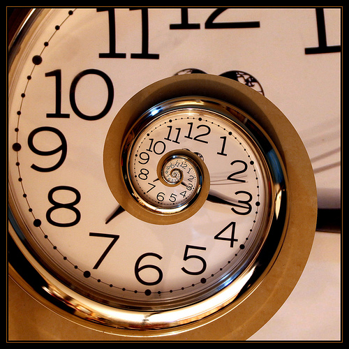 image of a spiraling clock