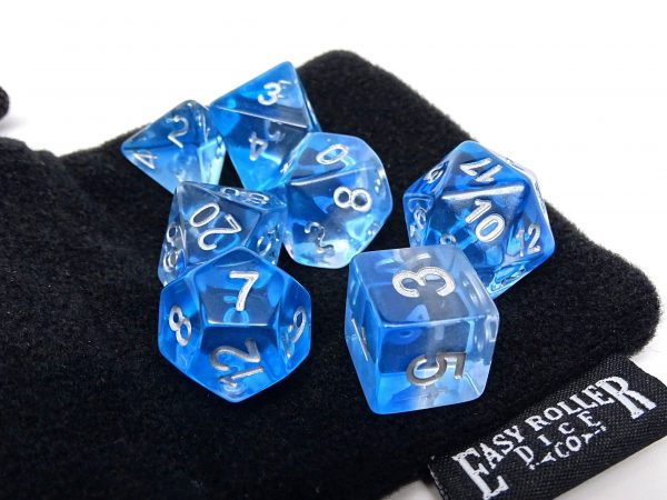 Translucent blue dice set from Easy Roller Dice