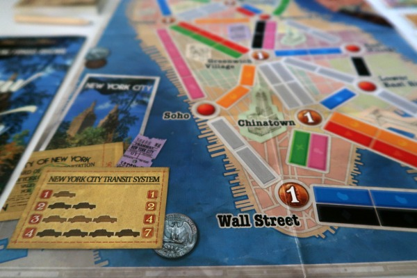 Close up of Ticket to Ride NY game board