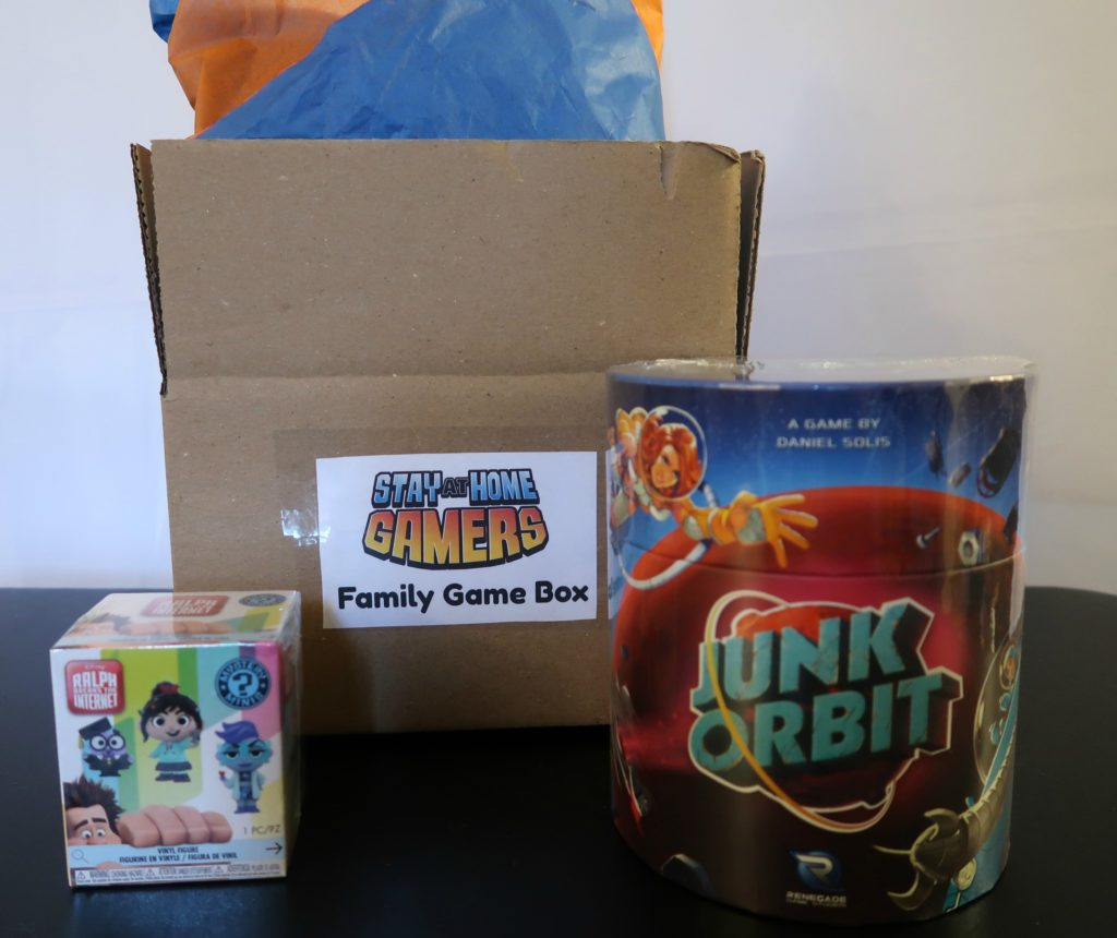 Family Board Game Subscription box with Junk Orbit and a Funko Mystery Mini