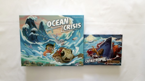 Ocean Crisis and Catastrophe expansion game boxes