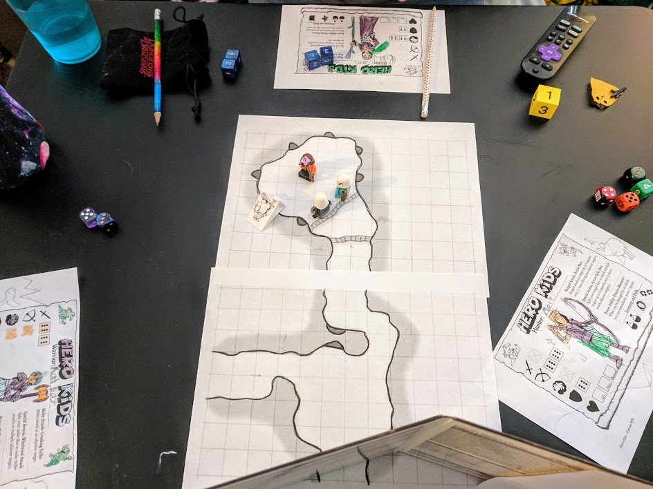 Hero Kids fantasy RPG map and character sheets we used while playing.