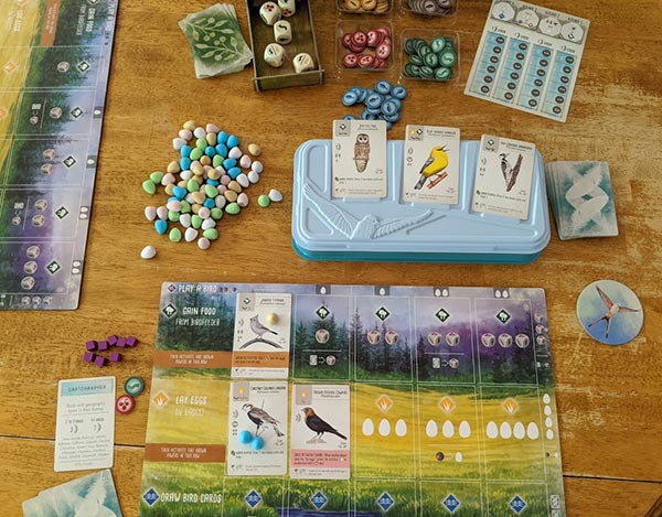 Overhead view of Wingspan game set up and in progress. Includes player mat, bird cards, egg minis, food tokens, wooden dice.